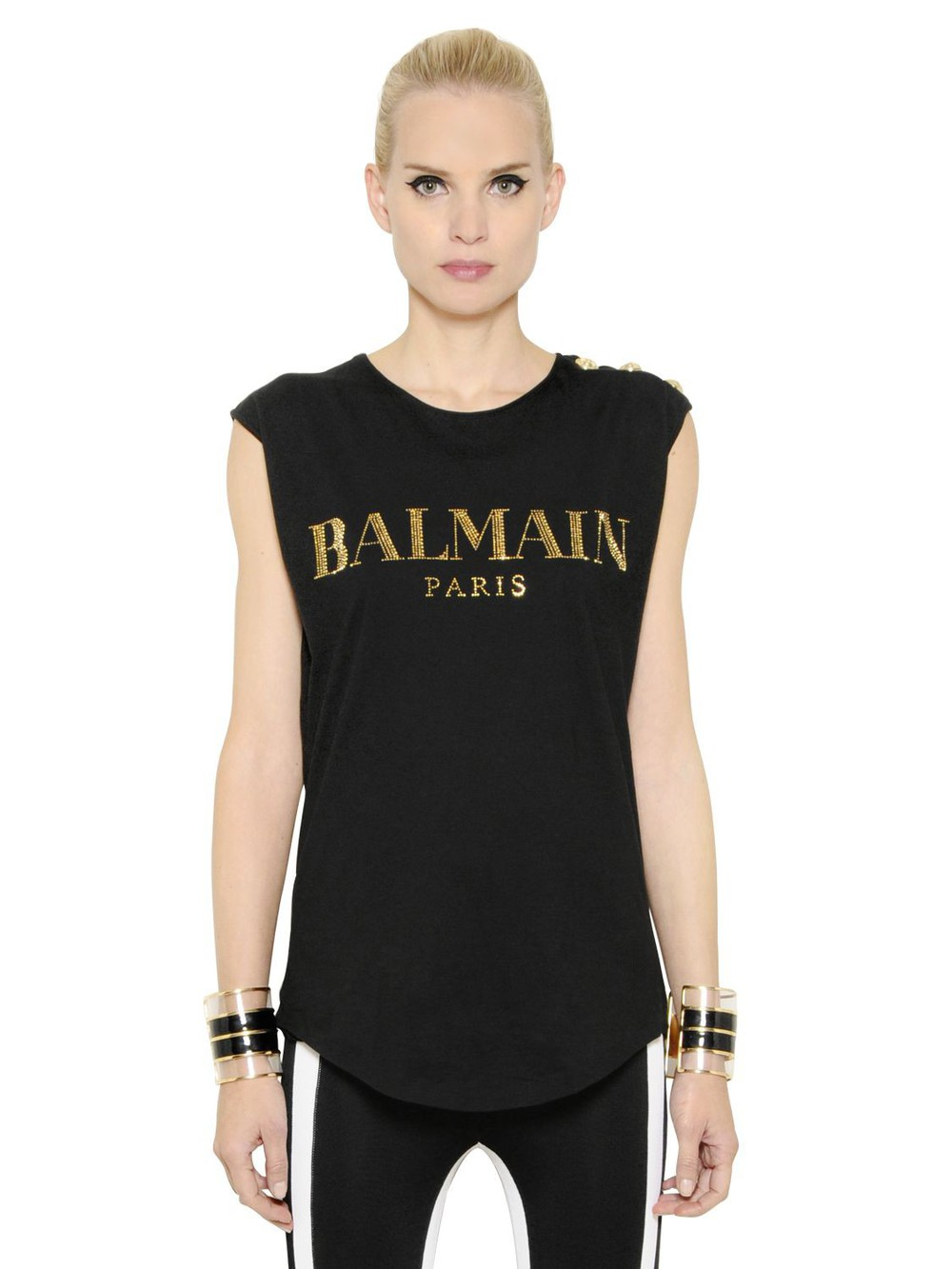 balmain logo print cotton jersey tank top in black wheretoget. Black Bedroom Furniture Sets. Home Design Ideas