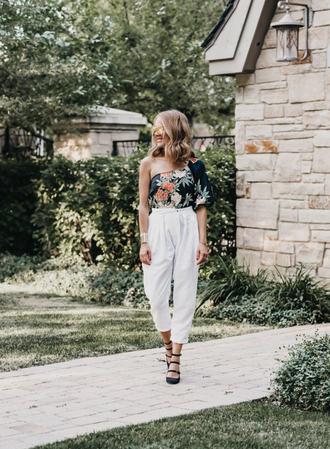 top tumblr asymmetrical asymmetrical top pants white pants cropped pants shoes high heels heels