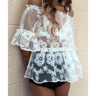 top white fashion off the shoulder trendy romantic see through rose wholesale-ap