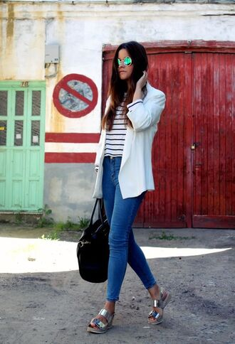 shoes silver sandals sandals flat sandals silver low heel sandals jeans blue jeans top striped top blazer white blazer bag black bag sunglasses mirrored sunglasses spring outfits