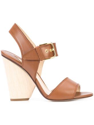 heel chunky heel women leather brown shoes