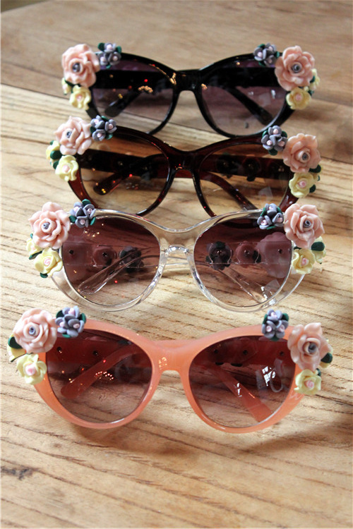 Celebrity Retro Fashion Beach 3D Flower Rose Embellished Baroque Cat Sunglasses | eBay