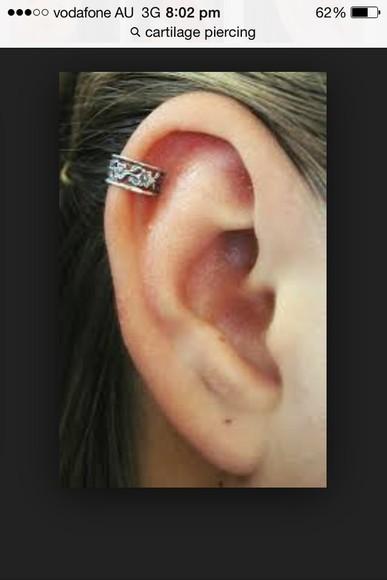 jewels piercing sliver jewelry roses flowers hoop earings helix piercing cartilage piercing