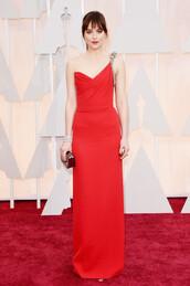 dress,oscars 2015,red dress,gown,dakota johnson,red carpet dress