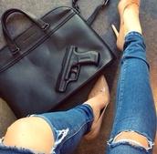 bag,jeans,shoes,shoulder bag,pants,black,gun,black bag,vlieger&vandam,black bag gun imprint,gun imprint purse,leather,black leather bag,hat,underwear,art,handbag,big,big bag,leather bag,the black bag,ripped jeans,pistol,vue boutique,studded bag
