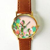 jewels,cactus,cactus print,succulents,watch,handmade,etsy,fashion style,cactus watch,fashion,fashion blog