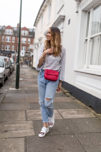shoes sneakers blue jeans ripped jeans top grey top bag white sneakers embellished jeans denim
