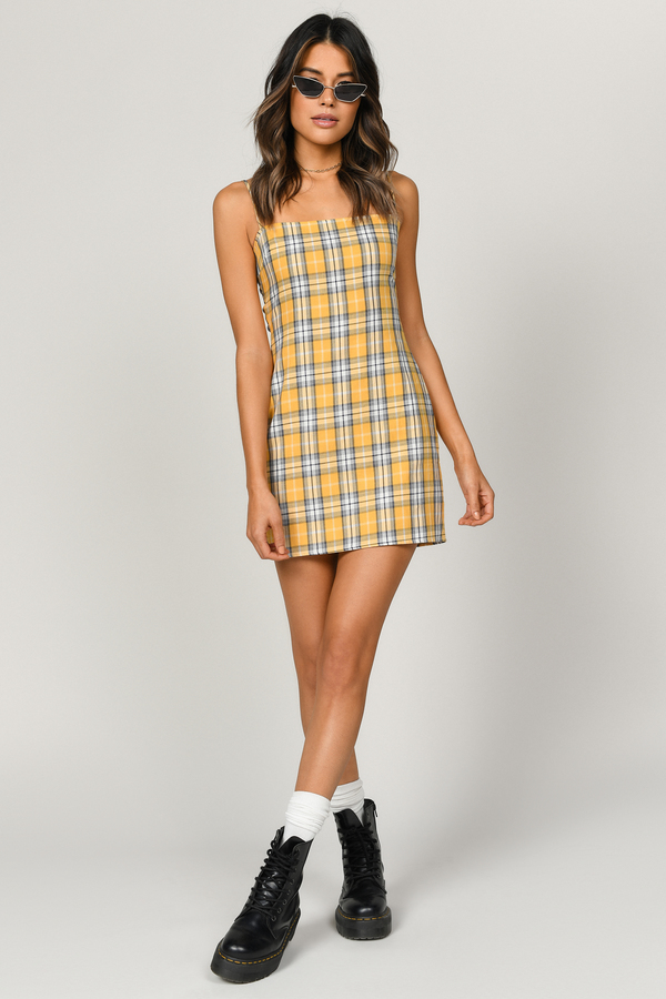 Give Me Fever Yellow Multi Plaid Bodycon Dress