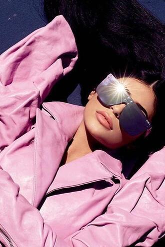 sunglasses pink pink jacket kylie jenner editorial