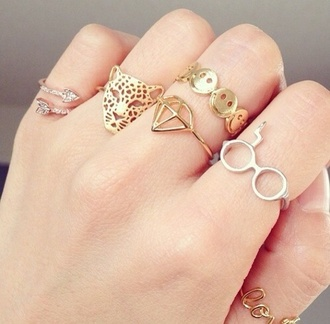jewels ring gold ring silver ring jewellry knuckle ring harry potter diamonds jaguar smiley face arrow gold jewerly jewelry rings