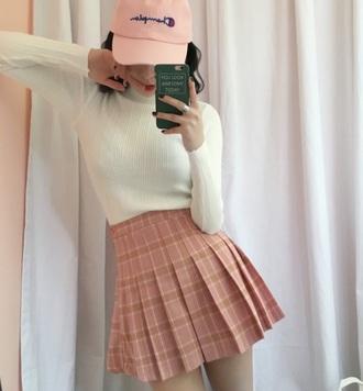 skirt girly tumblr pink pleated pleated skirt plaid