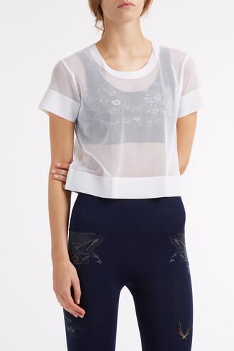 t-shirt shirt cropped t-shirt cropped mesh white top