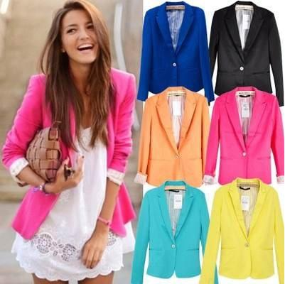 XS XL 5 Size Free Shipping Hot Fashion  Woman Candy Color Suit Blazer One Button Style Foldable Sleeves Jacket Cotton 6 color-in Basic Jackets from Apparel & Accessories on Aliexpress.com