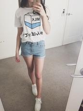 tumblr shirt,white t-shirt,japanese fashion,cute top,tumblr find love love,shirt,t-shirt,japan,japanese,milk,kanji,crop tops,japanese shirts,blue