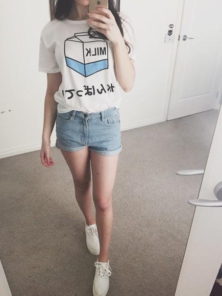 white t-shirt tumblr shirt japanese fashion cute top tumblr find love love