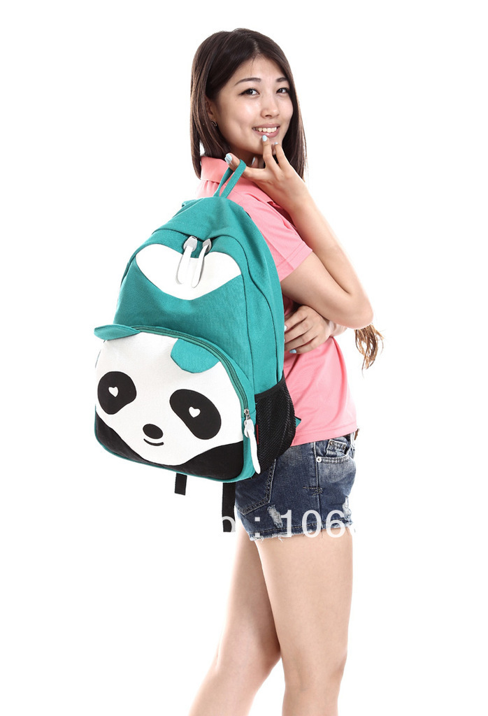 Colors NEW Lady Panda Backpack Style School Bags Canvas Bookbag School Backpacks KB0019-in Backpacks from Luggage & Bags on Aliexpress.com