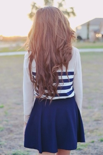 blouse striped top dress blue and white blue skirt white shirt shirt cute blue skirt skater stripes skater skirt striped shirt navy and white