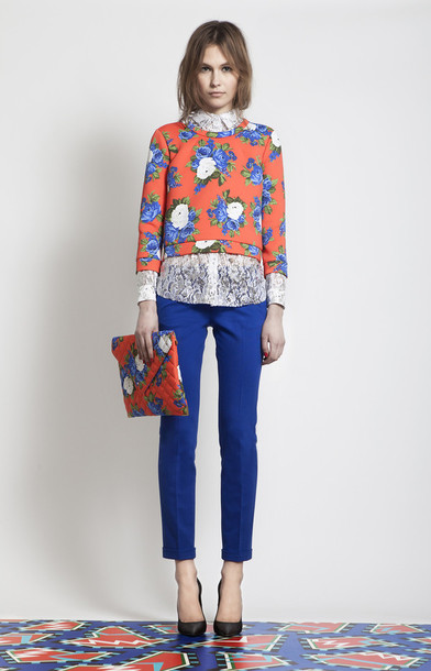 Sweater: fashion, flowers, floral, orange, brand, pretty, cute ...