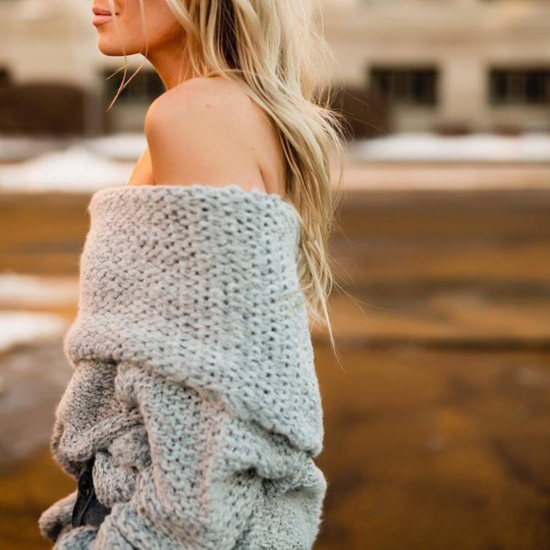 Sweater: tumblr, grey sweater, chunky knit, off the shoulder, off ...