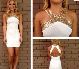 gold cream dress cream dress open back dresses short dress bodycon dress homecoming dress