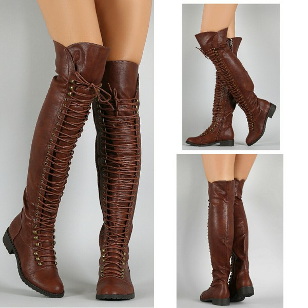 Brown Faux Leather Thigh High Combat Boots @ Cicihot Boots Catalog ...