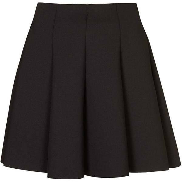 TOPSHOP Black Scuba Flippy Skirt - Polyvore