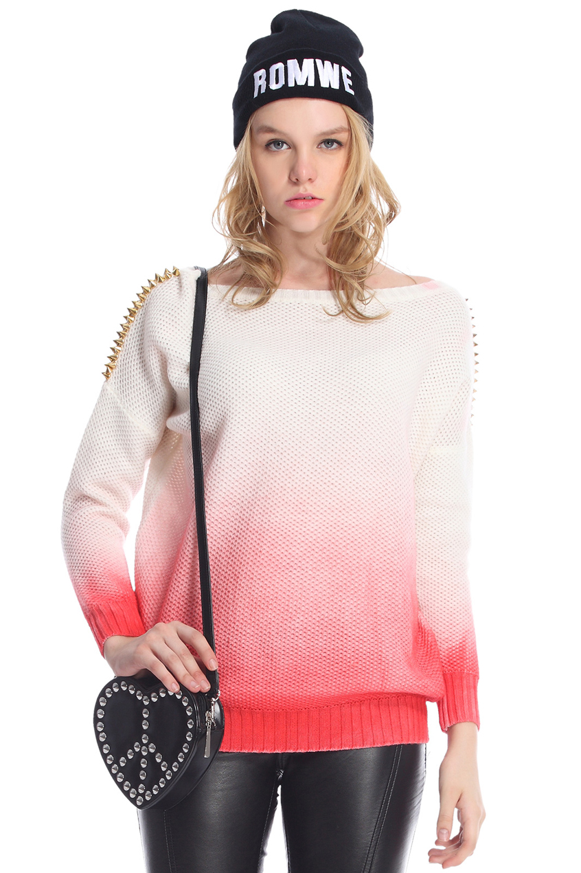ROMWE | ROMWE Red Gradient Print White Jumper, The Latest Street Fashion