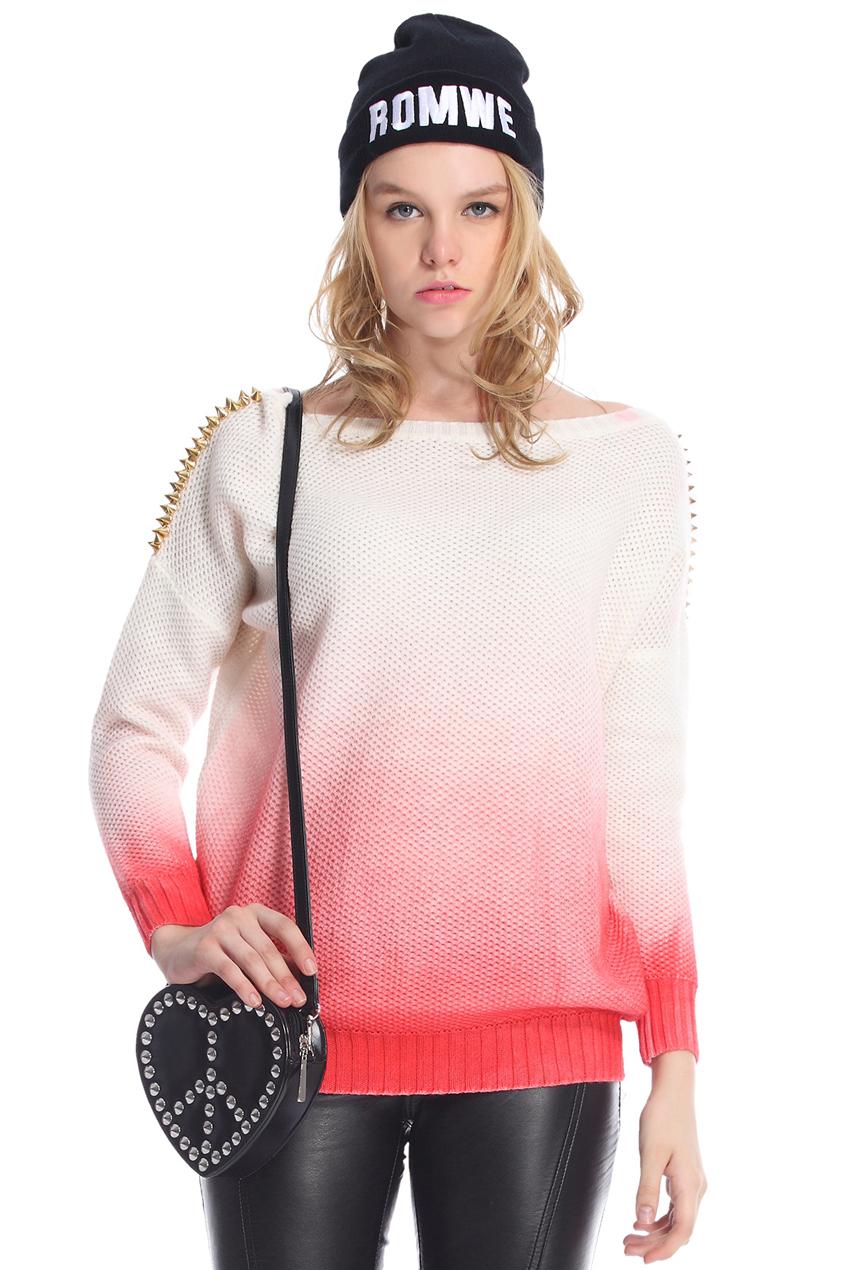 ROMWE | ROMWE Red Gradient Print White Jumper, The Latest Street Fashion