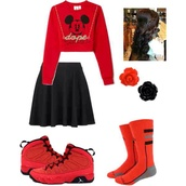 disney,red,mickey mouse,swag,jewels,shoes,socks,skirt