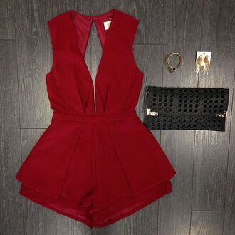 romper red after prom prom red romper clothes