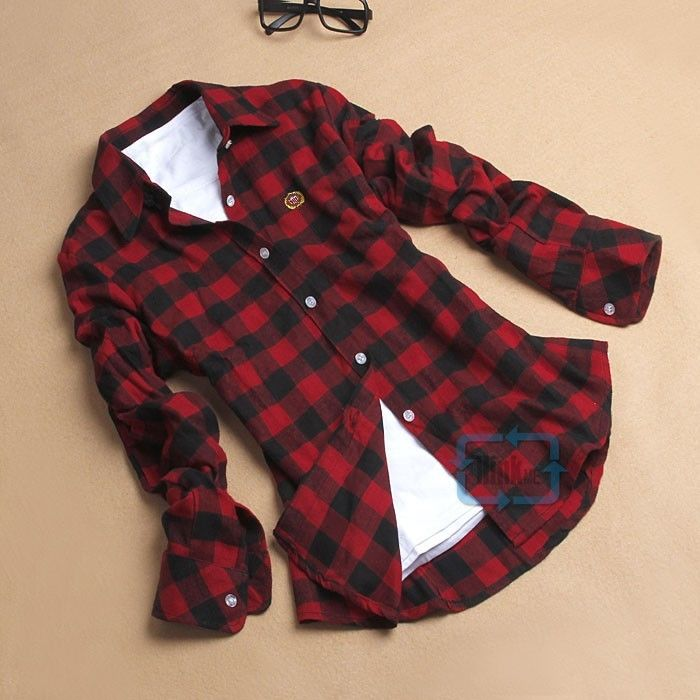 Women Button Down Casual Lapel Shirt Plaids Checks Flannel Shirts Tops Blouse | eBay
