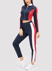 jumpsuit,girly,girl,girly wishlist,two-piece,matching set,crop tops,cropped,crop,pants,red,blue,white