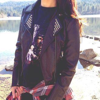 jacket vegan leather jacket 36683 studs studded jacket grunge 90s style kendall and kylie jenner kylie jenner leather motorcycle jacket cropped jacket black jacket fashion toast fashion vibe gypsy gypsy one black pleather jacket
