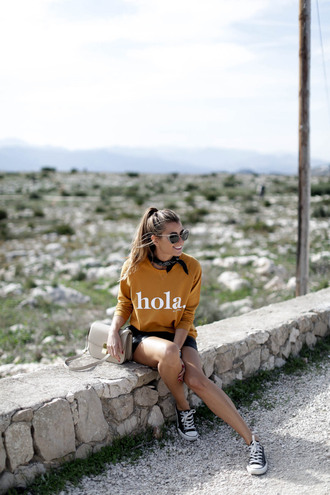 b a r t a b a c blogger sweater skirt shoes bag sunglasses sneakers converse nude bag shoulder bag