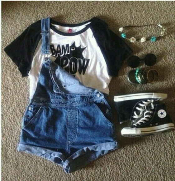 hipster shorts t-shirt sunglasses jeans converse