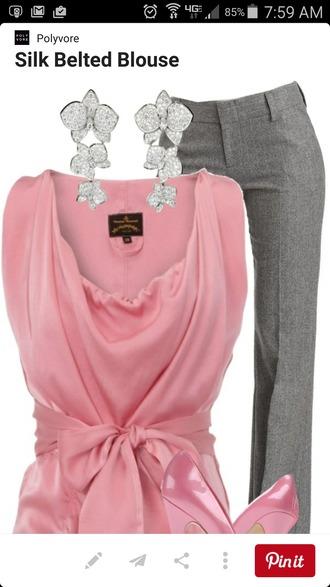 blouse pink shirts silk satin