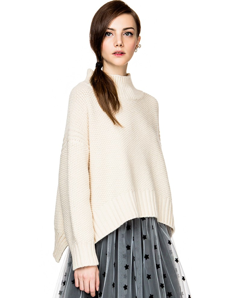 Oversize Turtleneck Sweater - Mock Neck Knit -$158