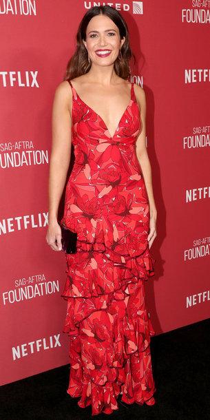 dress red dress red maxi dress gown mandy moore plunge dress ruffle dress
