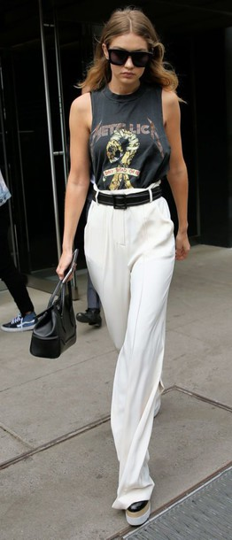 pants gigi hadid celebrity style celebrity high waisted pants white pants wide-leg pants top sleeveless top grey top bag black bag spring outfits sunglasses black sunglasses