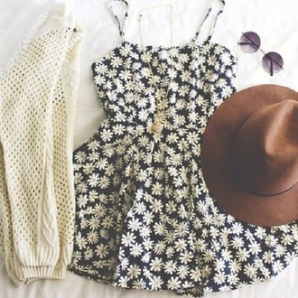 dress flowers pretty summer dress summer cardigan floral grunge hippie indie hipster black white yellow tumblr sunglasses hat knit
