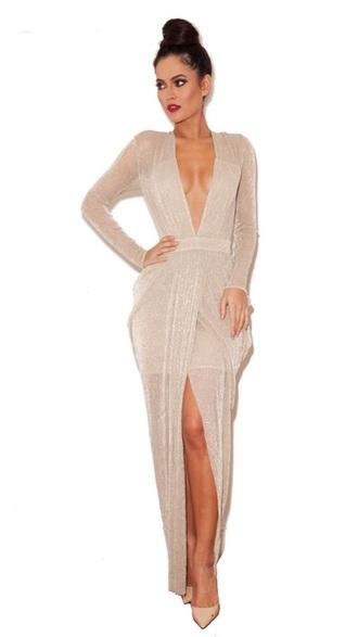 dress maxi dress nude dress sheer chiffon dress house of cb