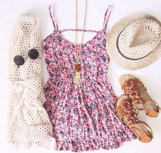 dress pink floral sweet cardigan