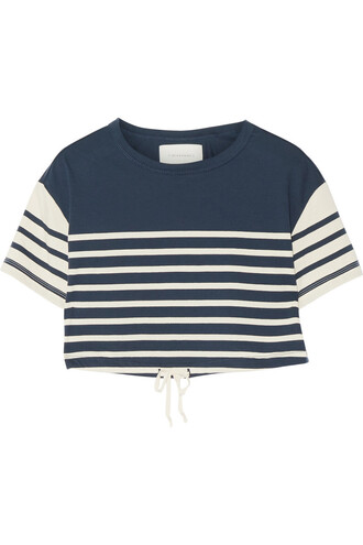 top cropped cotton blue