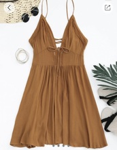 dress,light brown,sundress,lace up back,plunge dress,plunge v neck,summer dress,zaful