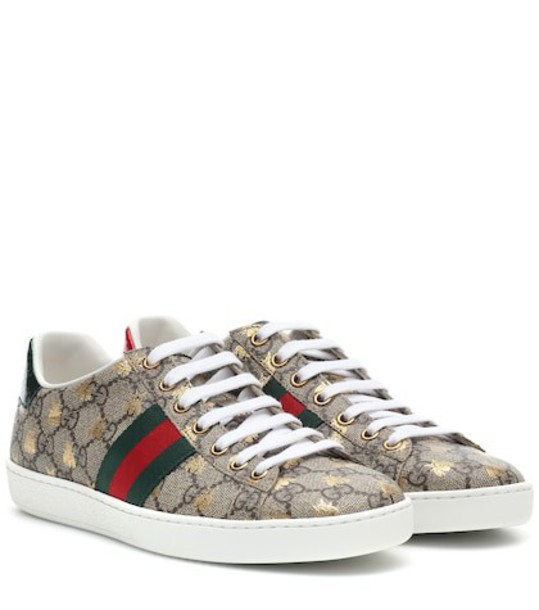 Gucci Ace leather-trimmed printed sneakers in brown