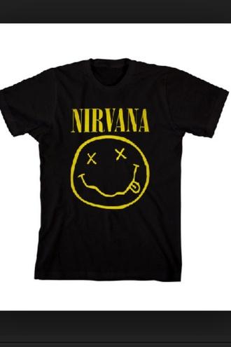 shirt nirvana black yellow t-shirt