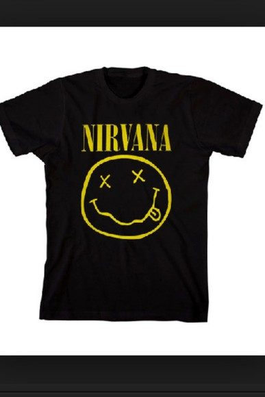 nirvana shirt black yellow tshirt