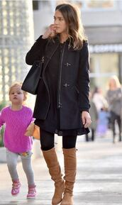 coat,boots,fall outfits,fall coat,over the knee boots,jessica alba