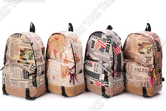 Shipping Women Fashion Vintage Cute Newspaper Print Canvas School ...