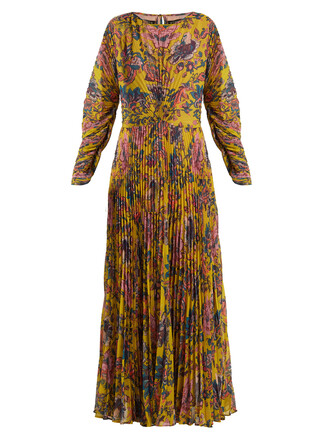 gown chiffon pleated floral print yellow dress